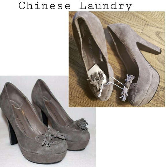 Chinese Laundry Shoes - Chinese Laundry gray oxford suede platforms.  Sz 7